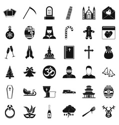 Temple icons set simple style vector