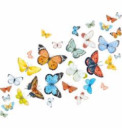 Watercolor butterflies set vector