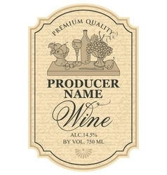 wine label with still life vector image vector image