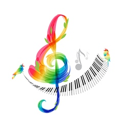 Music design treble clef and piano keyboard vector