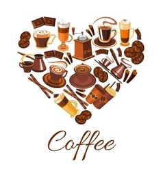 Coffee love label in shape of heart vector