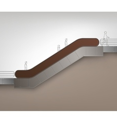 Brown modern escalator with place for advertising vector