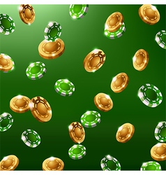 falling green and gold chips vector image
