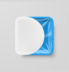 Empty blue plastic food square container with vector