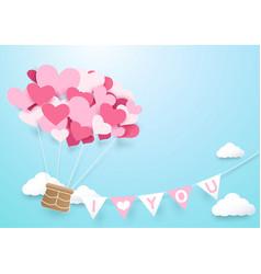 Paper art heart shape balloon with garland vector