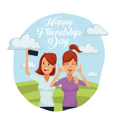 Colorful card of happy friendship day with pair of vector