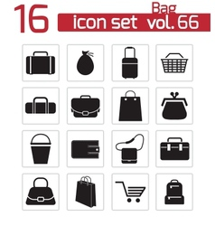 black bag icons set vector image