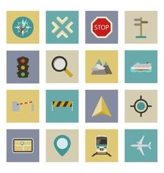 GPS and navigation flat icons set vector image