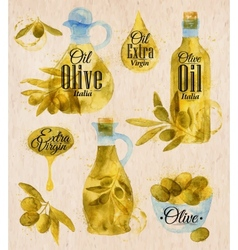 Watercolor drawn olive oil village style vector
