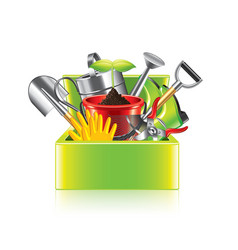 Garden tools box isolated vector