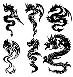 set of the chinese dragons tribal tattoo vector image