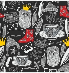 Seamless pattern with cute owl in crown vector