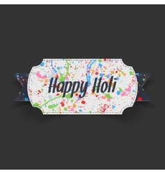 Happy holi white label with blue ribbon vector