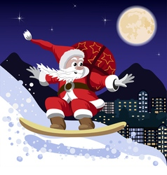 Santa claus on a snowboard vector