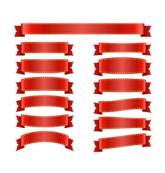 Red ribbon banners set on white 1 vector