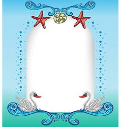 An empty surface with starfishes and swans vector image vector image