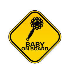 Baby on board sign with child rattle silhouette vector