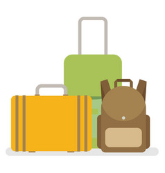 baggage luggage suitcases flat style vector image