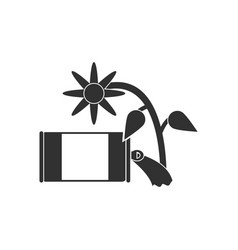 Black icon on white background canned and flower vector