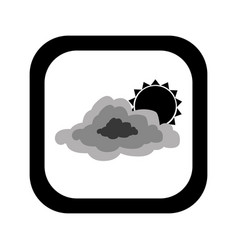 Black silhouette square button with cloud and sun vector