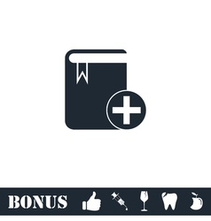 Book add icon flat vector image