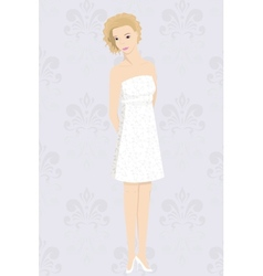 Bride in mini dress vector