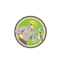 Builder Carpenter Holding Hammer Circle Retro vector image vector image