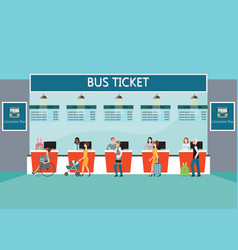 Bus terminal with people buying ticket at counter vector