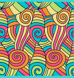 Colorfu abstract waves pattern hand drawn spiral vector