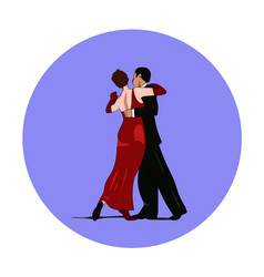 dance pair in tango passion isolated sign vector image