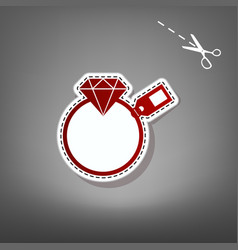 Diamond sign with tag red icon with for vector