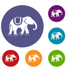 Elephant icons set vector