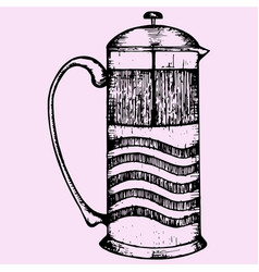 French press coffee or teapot vector