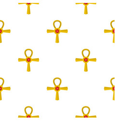 Golden ankh symbol pattern seamless vector