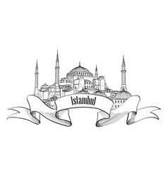 istanbul landmark label travel turkey symbol vector image vector image