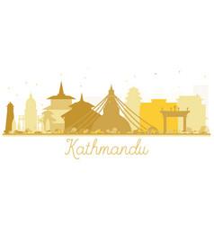 Kathmandu nepal city skyline golden silhouette vector
