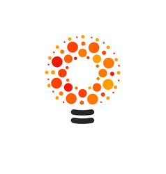 Lightbulbs with line dots and beam logo vector