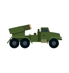 Military vehicle with rockets armoured truck vector