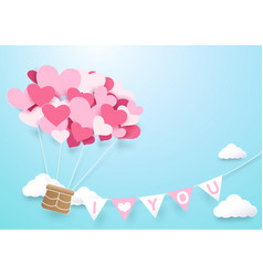 paper art heart shape balloon with garland vector image vector image