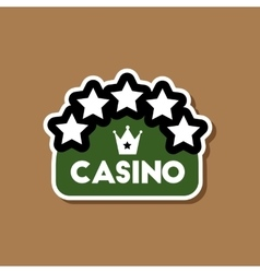 Paper sticker on stylish background casino sign vector