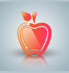 Red apple icon with white reflect vector