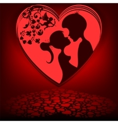 Red backgroundheart couple vector image