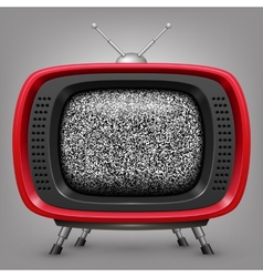 Retro red tv with noise vector