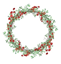 Round christmas wreath with mistletoe branches vector