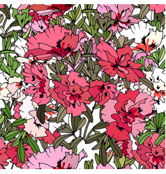Seamless pattern with traditional homeplant azalea vector