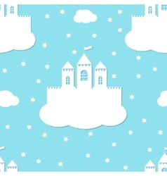 Seamless pattern with white castles on blue vector image