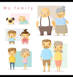 Set of big family vector