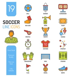 Soccer Thin Lines Color Web Icon Set vector image vector image