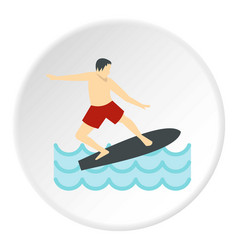 Surfer man on surfboard icon circle vector