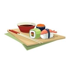 Sushi rolls flat food isolate on white background vector image